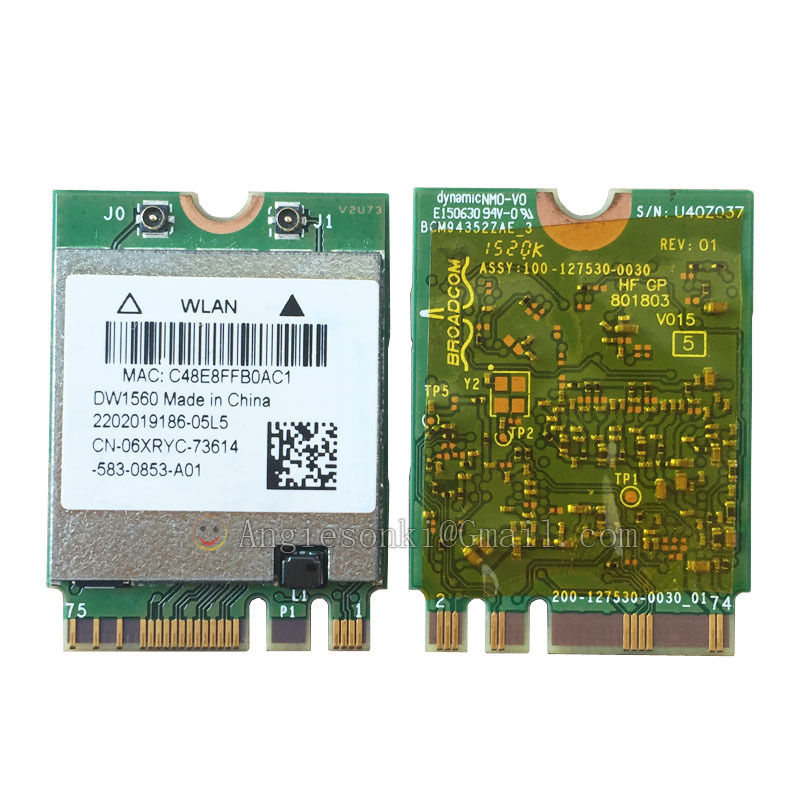 Prix pour DW1560 6 XRYC 802.11 AC 867 Mbps Bluetooth 4.0 WIFI WLAN Carte NGFF pour Dell XPS 13 9343 Broadcom BCM94352Z Toshiba Acer Asus