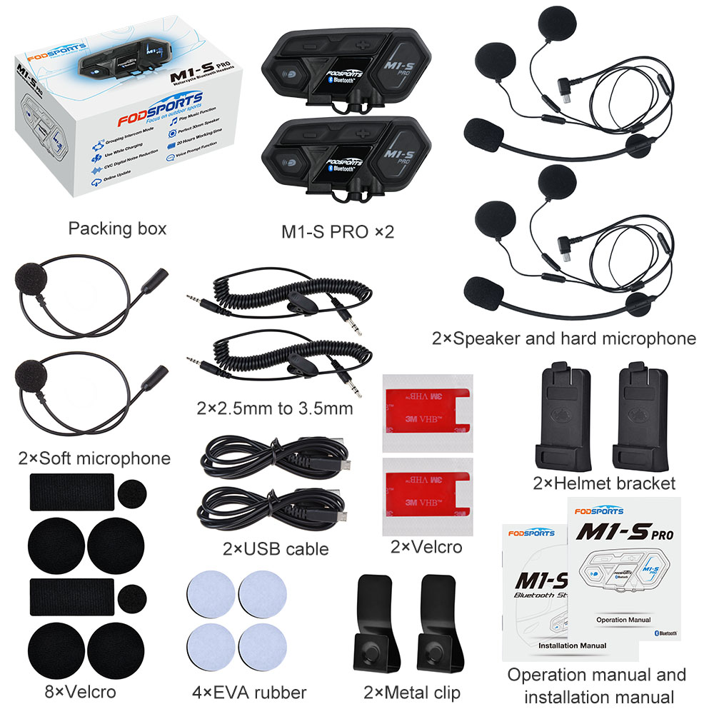 Fodsports 2 Pcs M1 S Pro Motorhelm Intercom Groep 8 Rider Helm Bluetooth Headset Waterdichte Handsfree Interphone Moto - 6