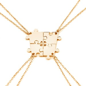 4 Pieces Silver Color Interlocking Jigsaw Puzzle Pendants Necklace Friends Or Family Minimalist Puzzles Necklace Sets Jewelry(China)