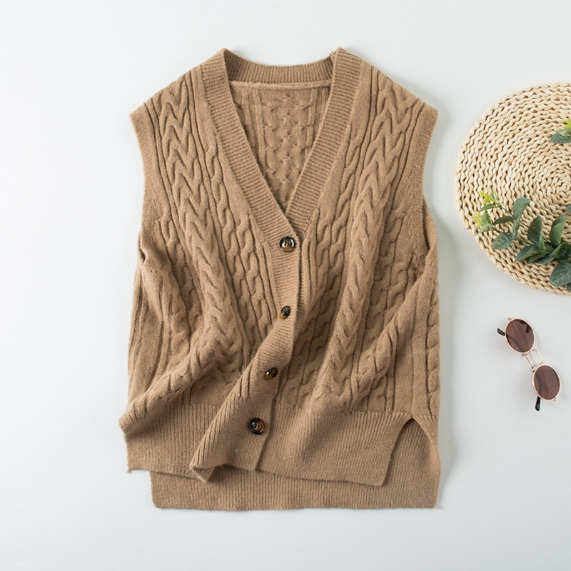 V-Neck Single-breasted Camel Sweater Cardigan For Women 2019 New Spring Asymmetry Loose Sleeveless Knitted Vest Female Outerwear