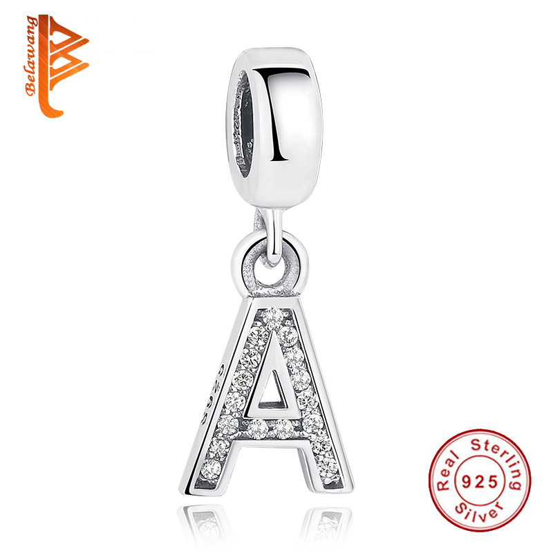 Autentisk 100% 925 Sterling sølv Crystal Crystal Alfabet A-S Dangle Charms fit pandora Original BW Armbånd DIY Smykker Making