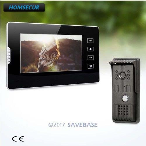 "HOMSECUR 1V1 Wired 7"" Video Door Intercom System with Intra-monitor Audio Intercom for House/ Flat"