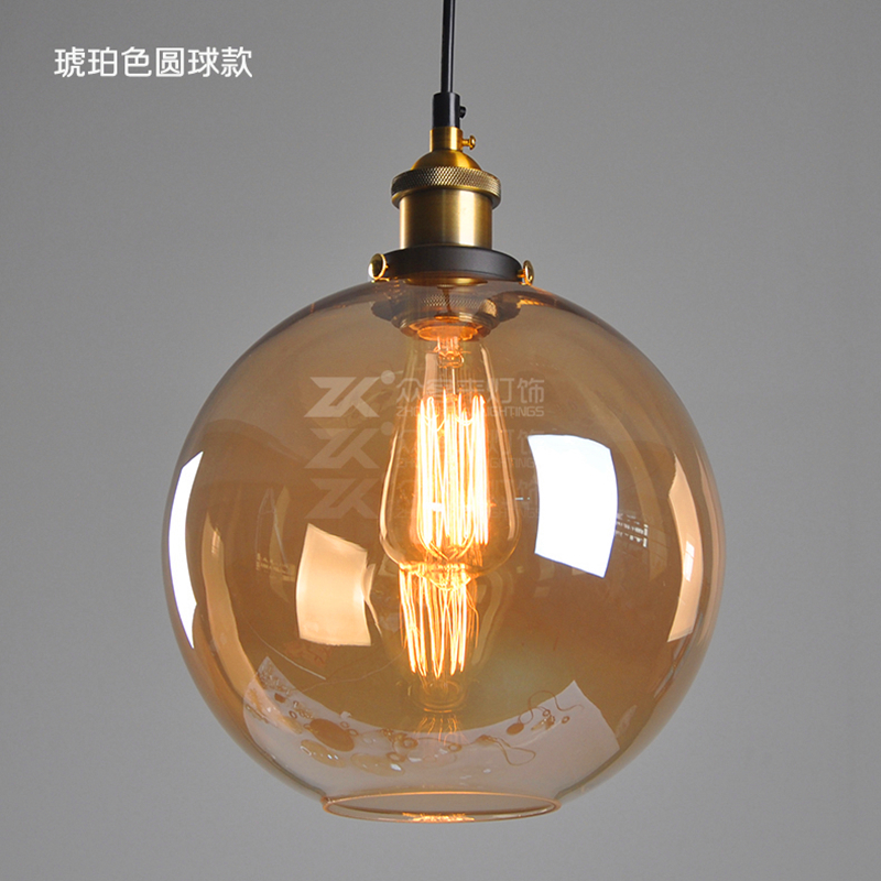 Vintage LED Pendant Lights Glass Loft Retro E27 Bulb Lamp Lamparas Colgantes Industrial Home Lighting Kitchen lamp ball ZDD0029