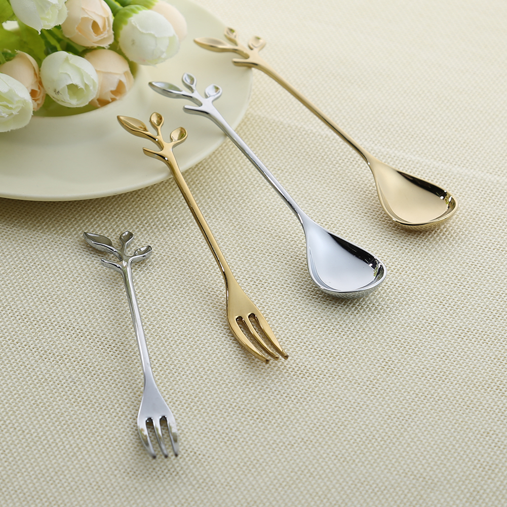 Leaf Shape Gold Silver Coffee Spoon Fork font b Kitchen b font font b Dining b