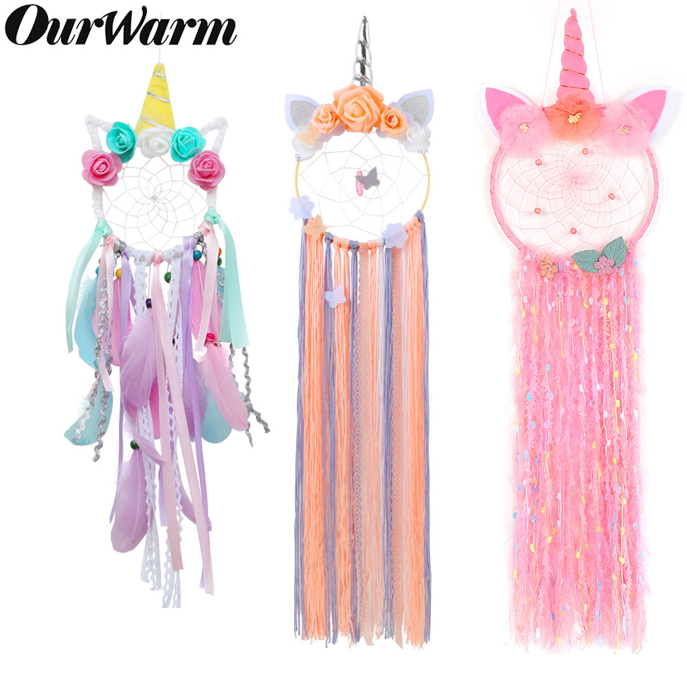 OurWarm Unicorn Dreamcatcher for Girls Room Nursery Decor Wall Hanging Decoration Dream Catcher Kids Room Birthday Wedding Gift in Wind Chimes Hanging Decorations from Home Garden