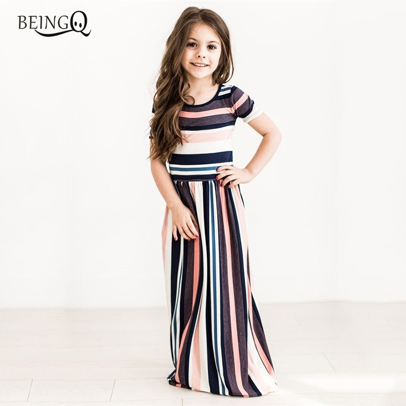 BEINGO Girl Dress For 2-10Y 2018 Summer Tutu Dress Stripe Long Maxi Dress Boho Beach Party Dress Baby Girl Kid Clothes 5 Colors