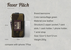 Image 4 - Moda wysoka marka jakości zielony moro prawdziwej skóry długi portfel męski z paskiem na nadgarstek męska kopertówka funkcja portfele 50
