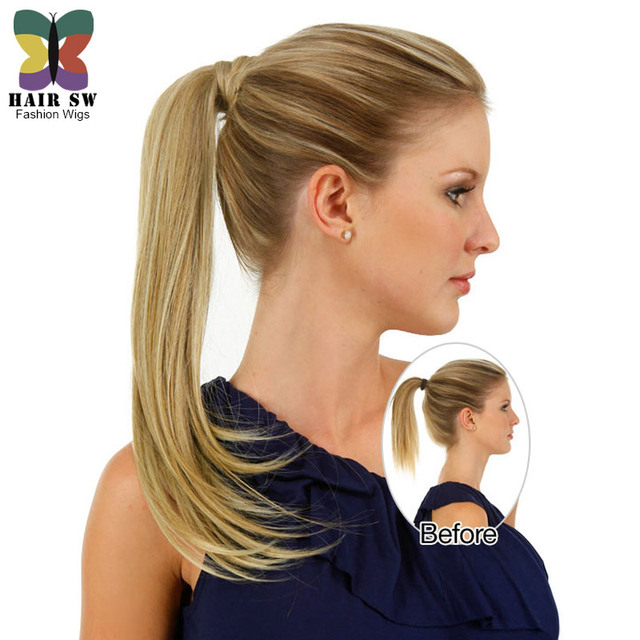 Simply Straight Pony Wrap 40 Hairpiece Ponytails Long Women Adorable Pouf Hair Piece