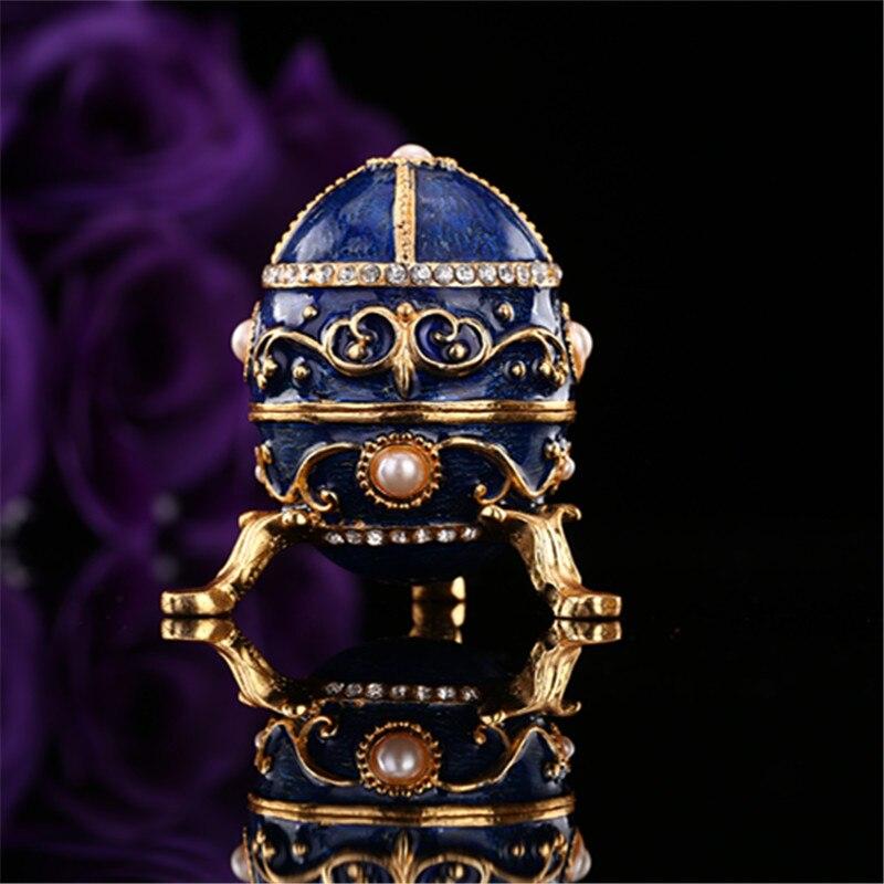 QIFU Blue Faberge Egg Metal Craft Trinket Box For Home Decor