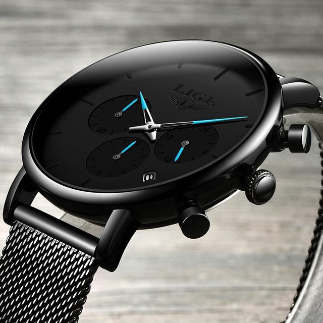 Relogio Masculino LIGE Mens Business Dress Watches Luxury Casual Waterproof Sports Watch Men Fashion Dial Quartz Slim Mesh Watch 1