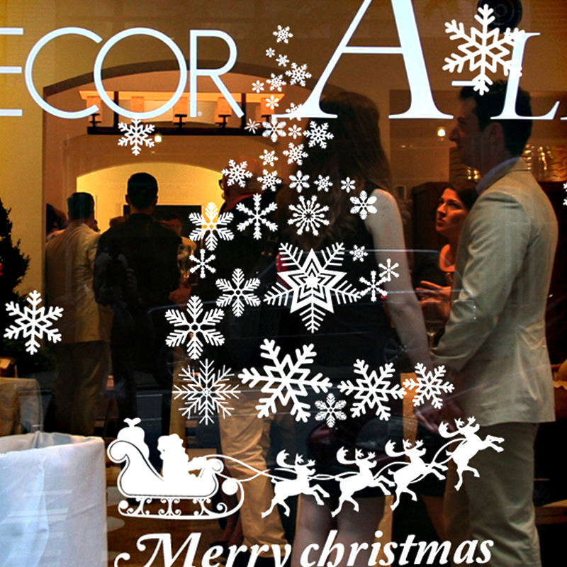 DCTAL Christmas tree glass window wall sticker decal home decor shop decoration X mas stickers xmas088