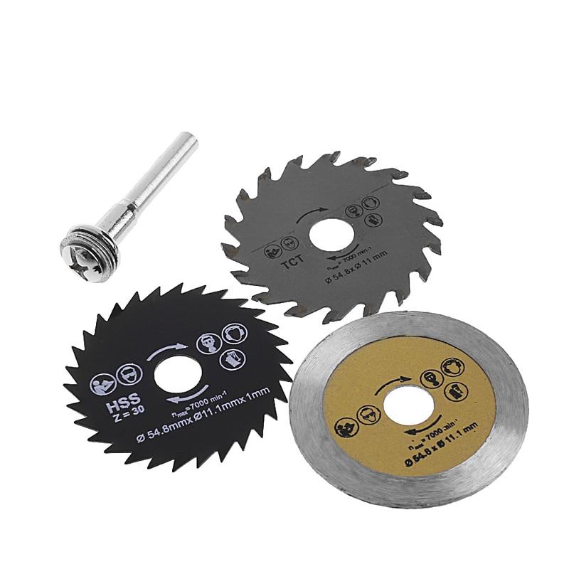 3 Pcs Circular Saw Blade Cutting Disc HSS Cutter Disc Shank for Mini Drill Tools Wood Drills Tools Out Diameter 54.8mm