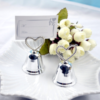 TAOS 10 Pcs Multi Functional Metal Lover Heart Bell Shaped Table Stand Menu Card Clip Holder
