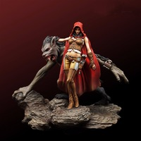 Assembly Unpainted Scale 1/24 75mm fantasy queen and the guardian Wolf figure Historical WWII Resin Model Free Shipping