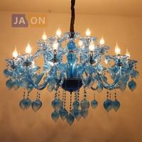 led e14 Postmodern Iron Glass Blue LED Chandelier Chandelier Lighting LED Light LED Lamp For Foyer Dinning Room