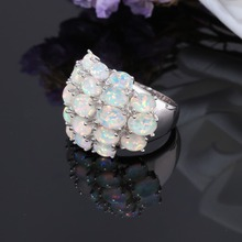 Silver Plated Premium Fire Opal Finger Ring