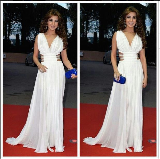2017 inspirado por nancy ajram árabe dubai musulmanes celebrity dresses a line de la gasa acanalada blusa del plisado de noche vestidos de fiesta