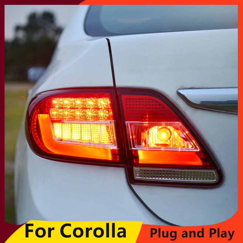 KOWELL Car Styling for Toyota Corolla 2011 2012 2013 taiwan Taillights LED Tail Light Rear Lamp
