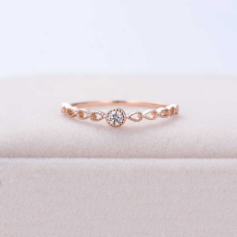 Tisonliz Dainty Hollow Zircon Crystal Rings Rose Gold Silver Rings Statement Jewelry for Women Jewelry Wholesale Dropshipping
