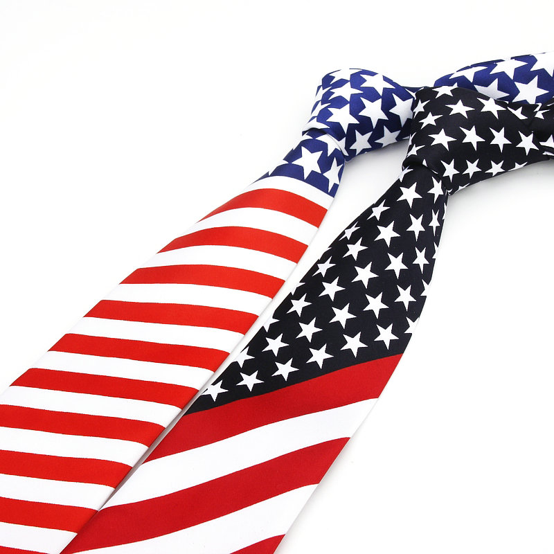 2018 Brand New Artificial Silk Star Striped American Flag Mens Necktie For Man Wedding Performance Tie For Business Party Ties
