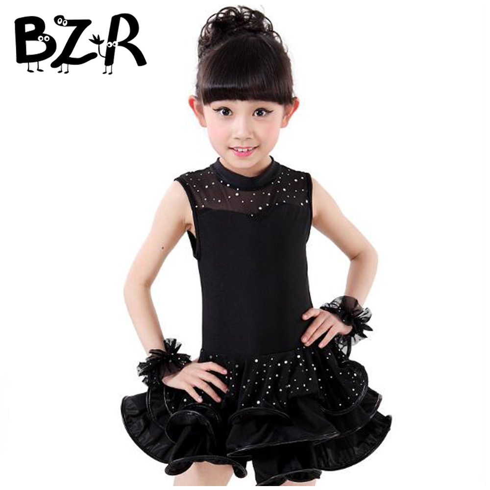 Bazzery Girls Ballroom Dress Sleeveless Latin Rumba Cha Cha Competition Dresses Diamond Decorate Performance Skirt for Kids