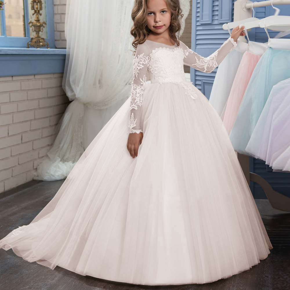 2018 Champagne Lace Flower Girl Dress Weddings Long Sleeves Ball ...