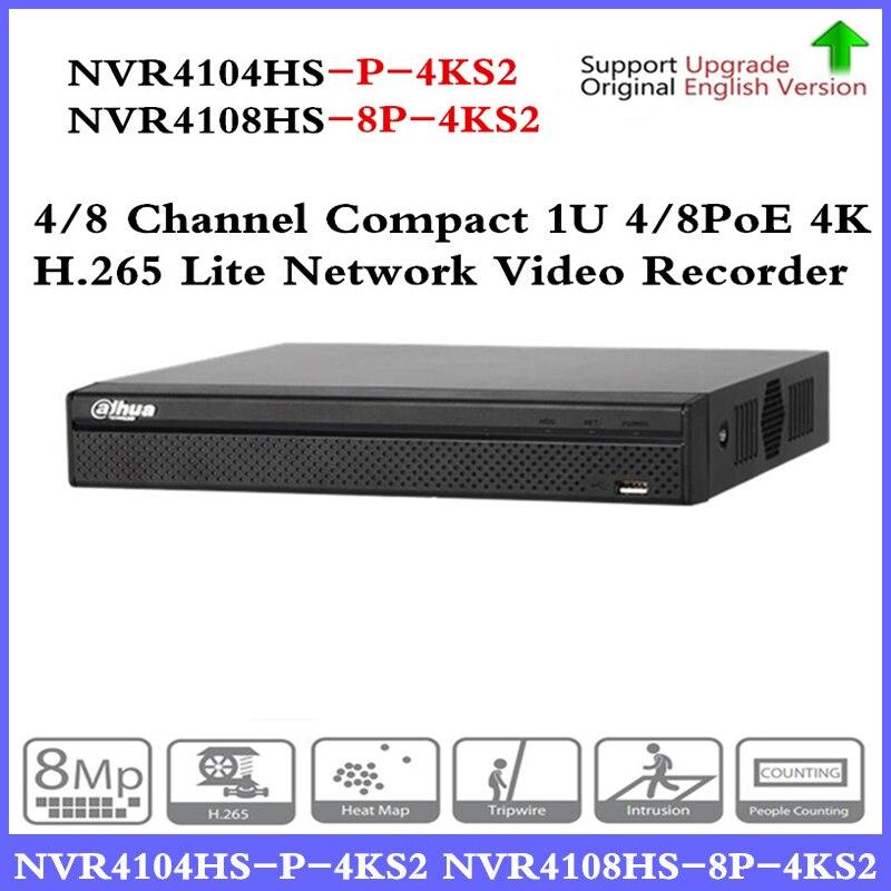DH NVR NVR4104HS-P-4KS2 NVR4108HS-8P-4KS2 with 4/8ch PoE Port H.265 Video Recorder Support ONVIF CGI Metal POE NVR