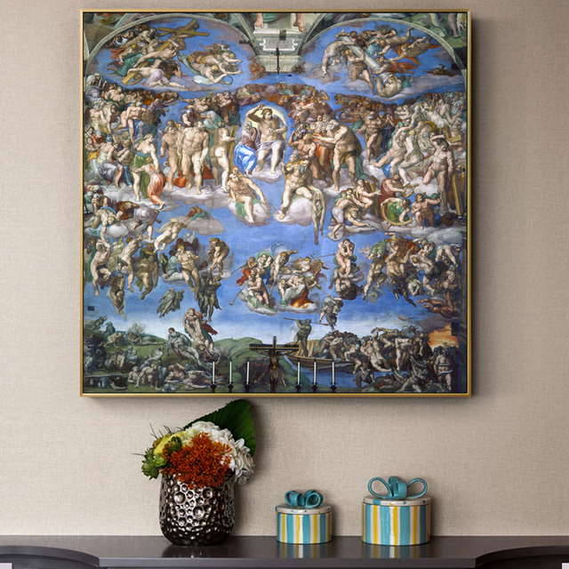 The Last Judgment Paintings On Wall By Michelangelo Reproductions Christian Art Canvas Pictures For