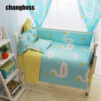 Удобный детский комплект детского постельного белья, постельные принадлежности для новорожденных, мультяшный лебедь, бампер из хлопка/оде...
