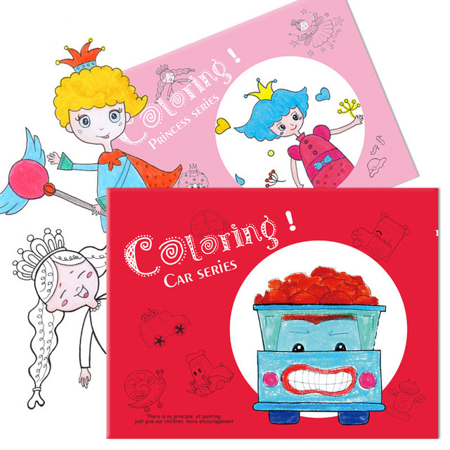 3PCS children\'s coloring notebook Boys and girls Cartoon painting ...