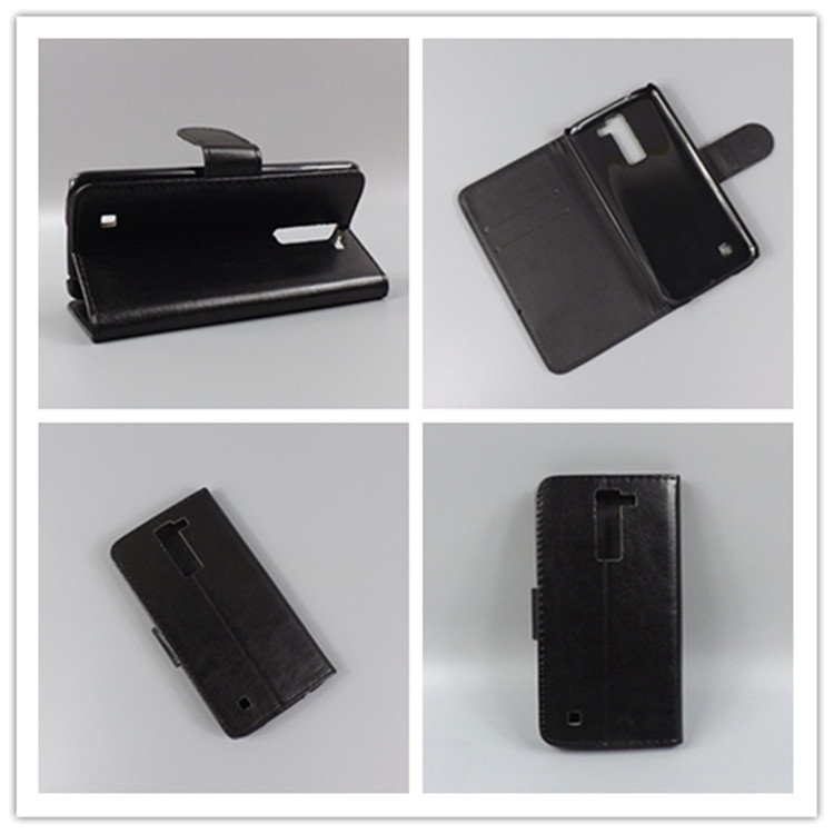 c86d293f5233c Crazy horse Flip leather case Credit Card Slots and stand function For LG  K8 Lte K350 K350E K350N 5.0 K 8 4G Free shipping