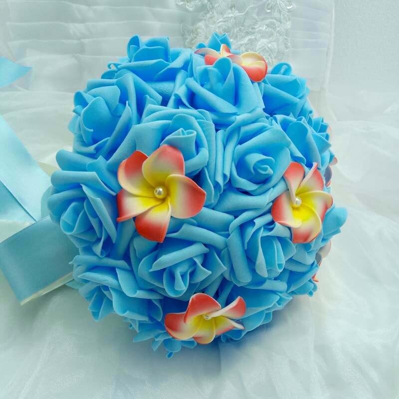 Blauw Bruidsboeket Handgemaakte Kunstbloem Rose Bruiloft Decoratie Bruidsboeket Simulatie