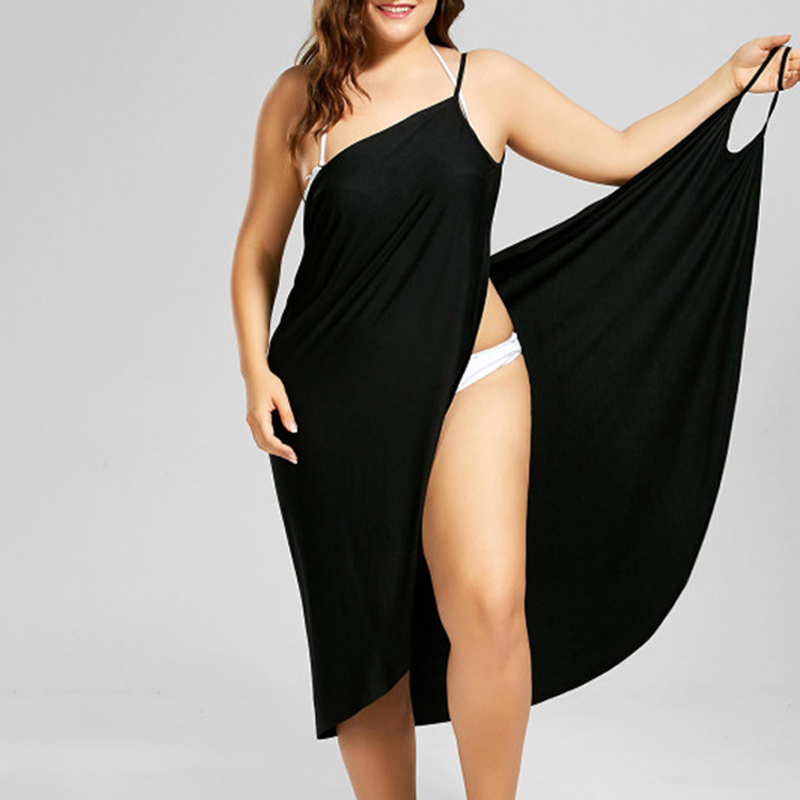 Black Wrap Sarong Beach Dress 2019 Holiday Beachwear Women Summer Dress Beach Sexy Robe Casual Backless Plus Size Vestidos 5XL