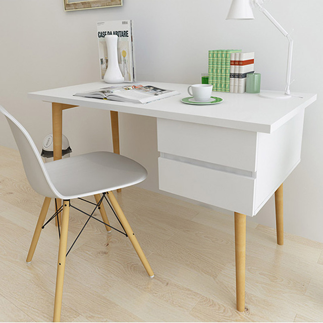 Simple Modern Ikea White Paint Wood Computer Desk Anese Style Creative Small Apartment
