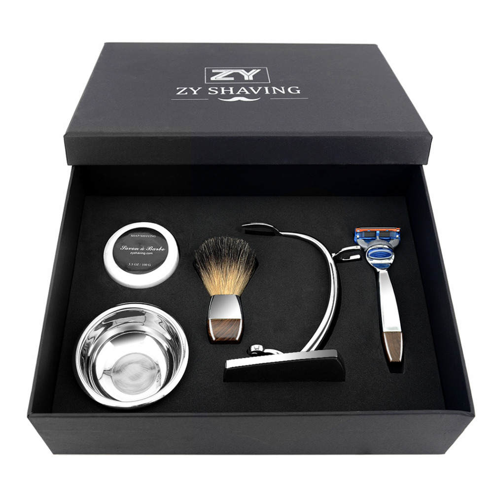 Men Shaving Razor Gift Set 3/5 Blade Safety Razor Badger Hair Brush Shaving Razor Brush Holder Soap Bowl Shaving Soap Kit q rapha korean pine needle soap gift set 3 pack