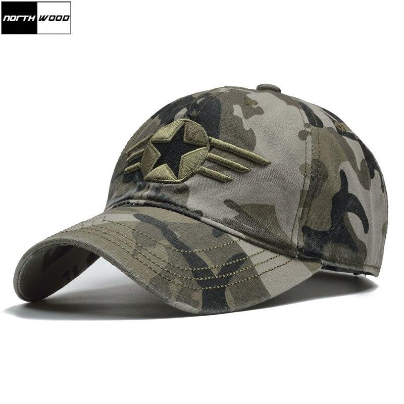 [NORTHWOOD] Marca Camo Tampão Do Exército dos EUA Homens Do Exército Boné de Beisebol Chapéu Pai Para Homens Camuflagem Snapback Osso Masculino tático Cap Pai