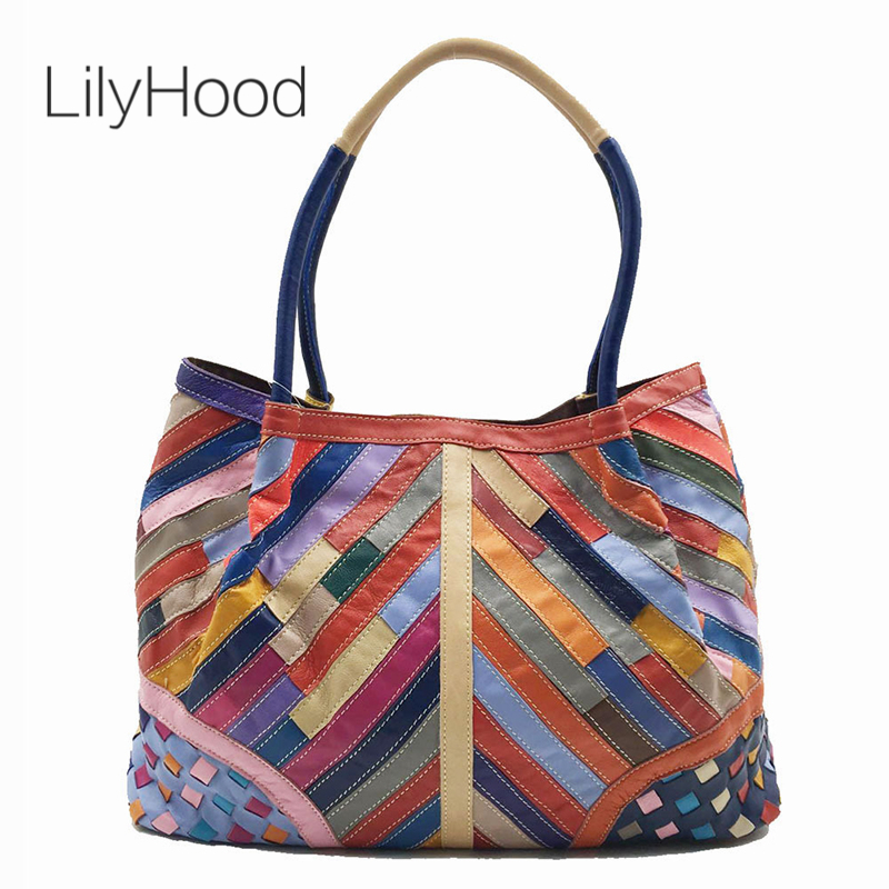 LilyHood Natural Leather Large Totes Women Fashion Top Handle Big Bags for Work Female Sheepskin Genuine
