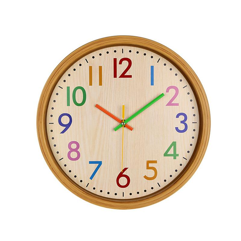 12 Inch Silent Colorful Number Kids Wall Clock Large Decorative Non Ticking Wall Clock Vintage Style Battery Operated