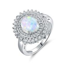 2019 Elegant Crystal Rhinestone Flower Wedding Rings For Women Austrian Stone Accessories Silver Engagement Female Ring