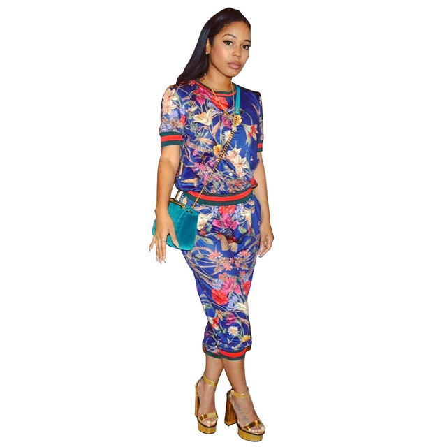 NEW 5 Color Print Bodycon Women 2 piece set women pant and top Short Sleeve Casual Outfits Beach Party Clubwear cargo pants