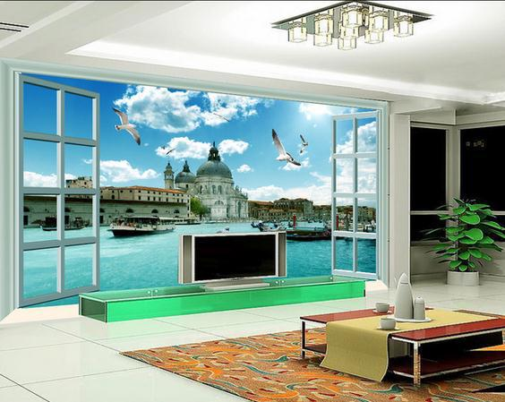 Custom Photo Wallpaper Wall Murals European Dream Scenery Outside The Window Scene 3 D Tv Setting In Wallpapers From Home