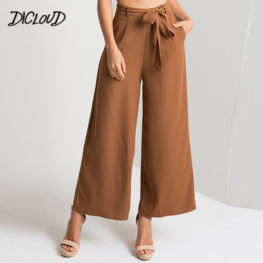 DICLOUD 2018 Loose High Waist Wide Leg   Pants   Woman Fashion Sashes Solid Office Ladies   Pants   Black Elegant Casual   Pant     Capris