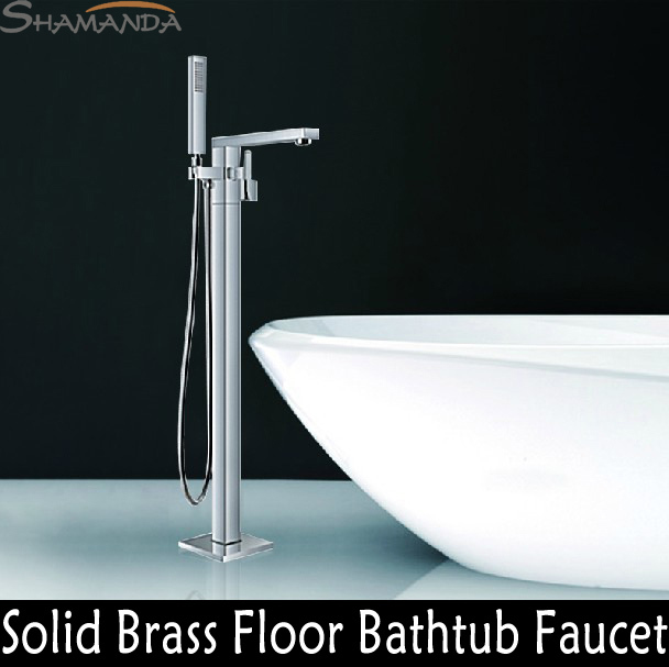 Free Shipping Bathroom Products Solid Brass Chrome Finished Luxurious Square Floor Mounted Bathtub Faucet Mixer Tap 18007 free shipping polished chrome finish new wall mounted waterfall bathroom bathtub handheld shower tap mixer faucet yt 5333