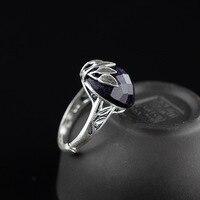 The character of the new listing S925 silver Matt blue sandstone Chunzhu elegant ladies ring opening