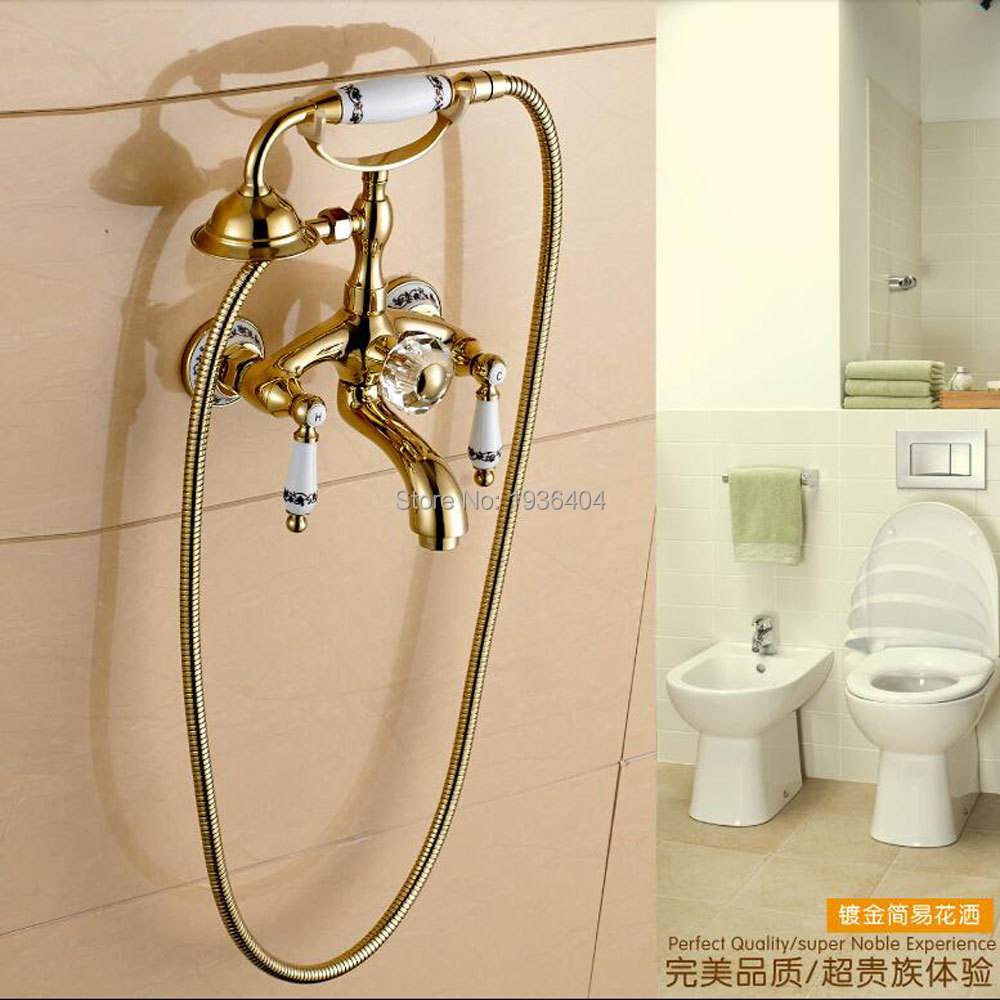 Fashion gold plated shower set copper faucet blue and for Blue and gold bathroom sets