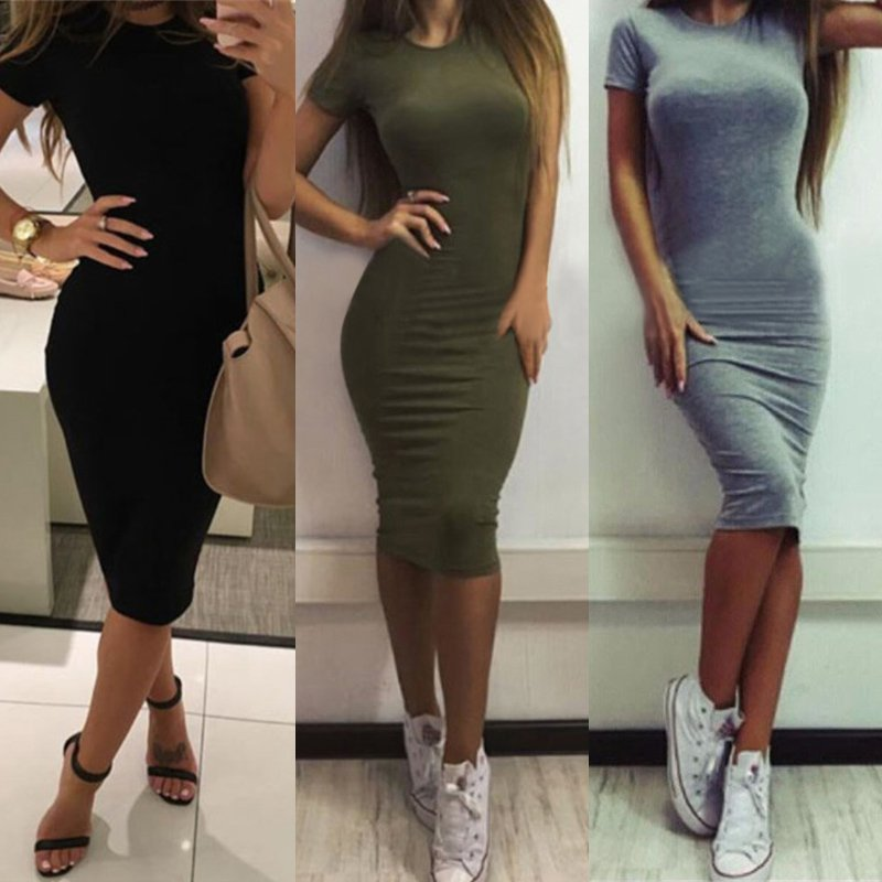 1pcs Womens Dress Vestido Short Sleeve Slim Bodycon Dress Tunic Crew Neck Casual Pencil Dress New Arrival(China)