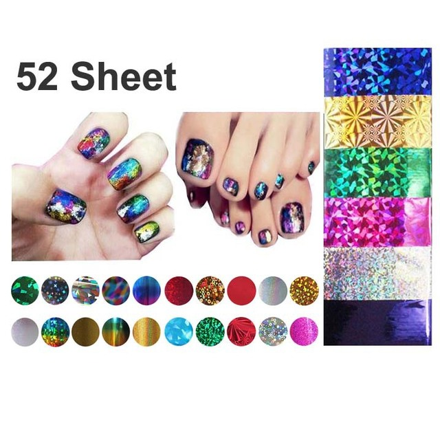 52 Pcs Mix Color Transfer Foil Nails Art Start Design Sticker Decal For Polish Care DIY Free Shipping