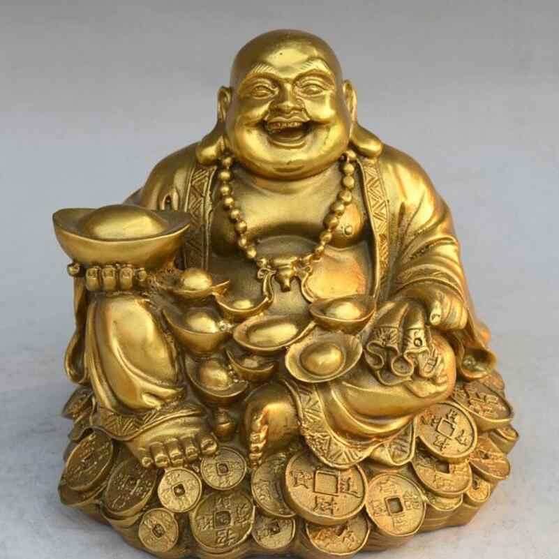 SHUN brass select size copper Maitreya money Laughing Buddha Sitting money Buddha living room Offering Lucky decoration Crafts