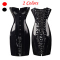 Fashion Strapless Steampunk Corsets And Bustiers Black Faux Leather Corset Dress Plus Size Corselet