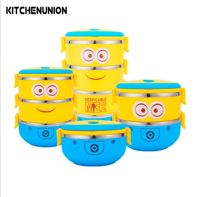 Cartoon Minions Thermal Bento Box For Food Stainless Steel Insulation Storage Food Container Dinnerware Set U0743